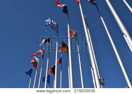 The flags of the EU states wave as a symbol of the union 03