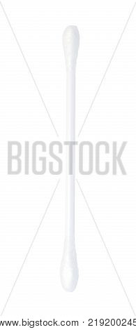 One clean white plastic cotton swab isolated on white background