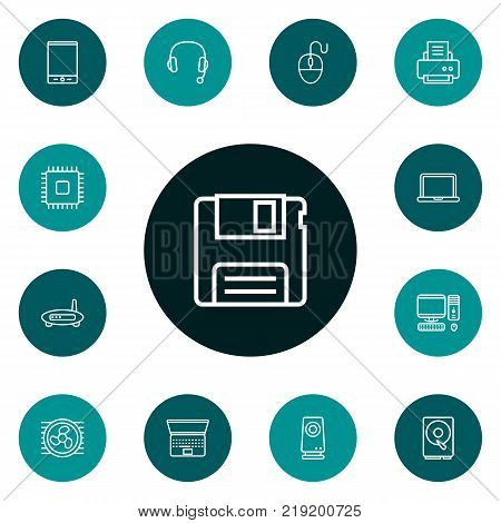 Collection Of Cpu, Printer, Tablet And Other Elements.  Set Of 13 Computer Outline Icons Set.