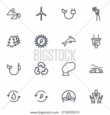 Collection Of Dolphin, Electricity, Pollution And Other Elements.  Set Of 16 Ecology Outline Icons Set.
