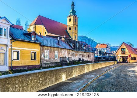 Scenic view at picturesque town Samobor in Northern Croatia, medieval architecture scenery.
