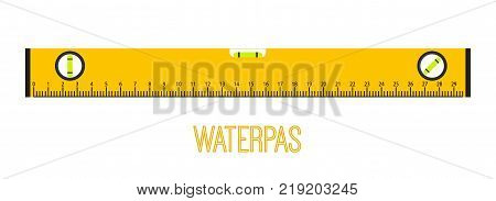 Waterpas, measurement instrument, measuring equipment. Made in cartoon flat style. Vector illustration