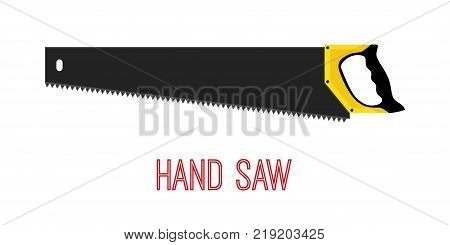 Hand saw, work tool, carpentry instrument. Made in cartoon flat style. Vector illustration