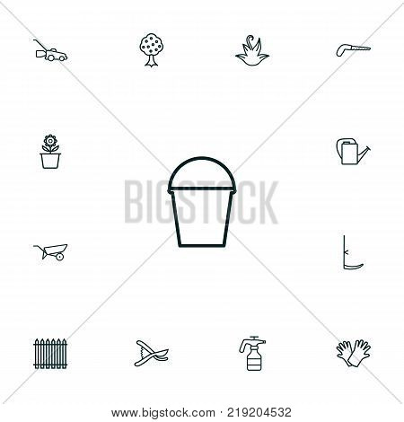 Collection Of Grass-Cutter, Arm-Cutter, Bailer And Other Elements.  Set Of 13 Horticulture Outline Icons Set.