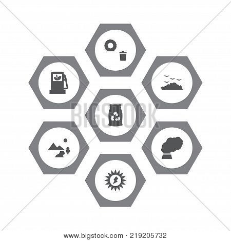 Collection Of Energy, Rubbish, Junk And Other Elements.  Set Of 7 Bio Icons Set.