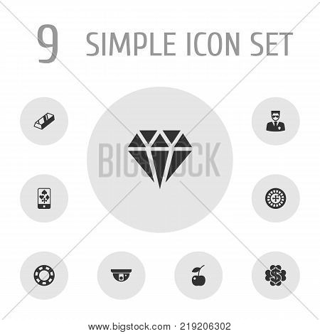 Collection Of Wheel, Online Casino, Berry And Other Elements.  Set Of 9 Casino Icons Set.