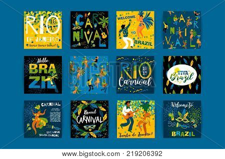 Brazil carnival. Vector templates for carnival concept and other users. Design elements.