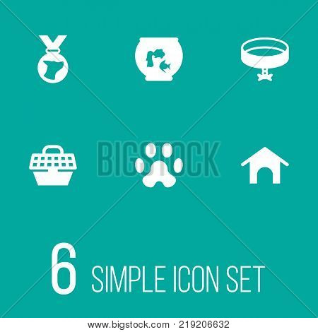 Collection Of Footprint , Neckband , Pet Crate Elements.  Set Of 6 Animals Icons Set.
