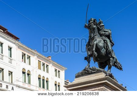 Venice Italy - October 7 2017: Horseman statue built to give honor to King Victor Emmanuel II the first king of united Italy