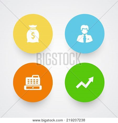 Collection Of Cashbox, Grown, Worker And Other Elements.  Set Of 4 Budget Icons Set.