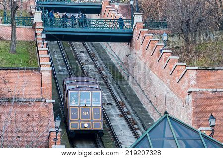 Budapest Hungary - December 30 2016: Buda Hill Funicular to get up to the Buda Castle Hill