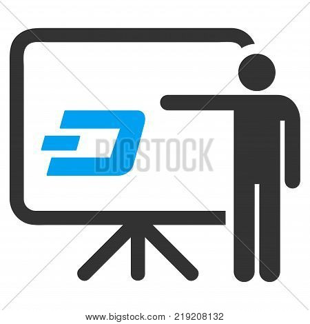 Dash Board Presentation Person vector icon. Illustration style is a flat iconic bicolor blue and gray symbol on white background.