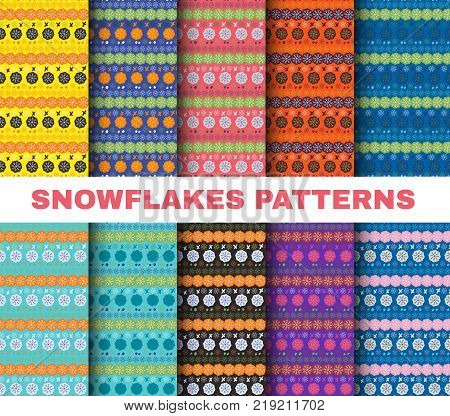Snowflake pattern set, Christmas ethnic or tribal color winter snowflakes on colorful backgrounds vector illustration.Vector collection for Scrapbooking design. New Year scrap paper set, knitted wrapping paper