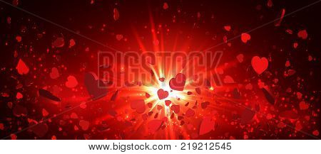 Heart confetti of Valentines petals falling on red background. Flower petal in shape of heart confetti for Women's Day.