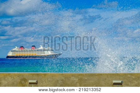 Grand Cayman, Cayman Islands, Dec 2017, cruise ship on the Caribbean Sea near George Town port