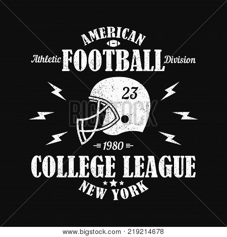 New York, american football grunge print for sports apparel with helmet. Typography emblem for t-shirt. Design for athletic clothes. Vector illustration.