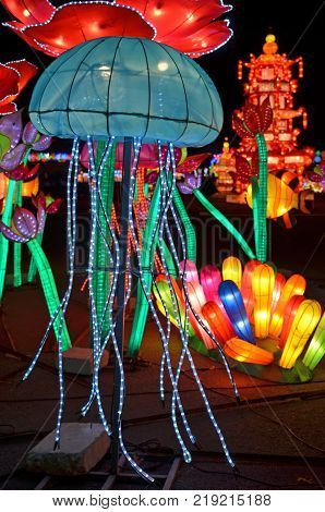 LITTLE ROCK, AR - December 16, 2017 Blue jellyfish stands out at the Arkansas Chinese Lantern Festival.
