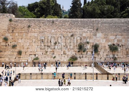 JERUSALEM ISRAEL - AUGUST 03 2010: Horizontal picture of The Western Wall the Kotel at Jewish Quarter inside the walls of Old City in Jerusalem Israel