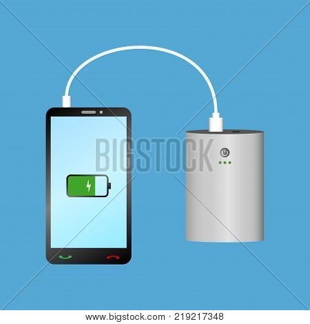 Smartphone charging with Power Bank via USB cable. Portable charger device and phone. Vector illustration.
