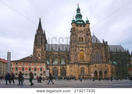 Prague, Chech republic - November, 17, 2017: st. Vita cathedral in Prague