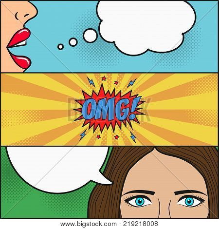 Design of comic book page. Dialog of two girls with speech bubble with emotions - OMG. Lips and face with eyes of woman. Cartoon sketch in pop art style. Vector illustration.gossip