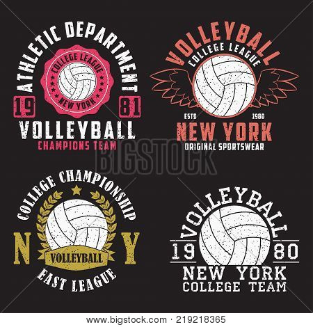 Set of Volleyball New York print for apparel with ball. Collection of vintage typography emblem for t-shirt. Design for athletic clothes. Vector illustration.