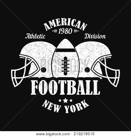 New York, american football print for sports apparel with helmet and ball. Typography emblem for t-shirt. Design for athletic clothes. Vector illustration.