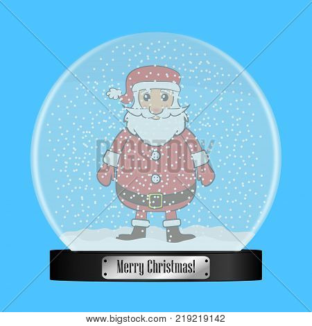 Glass snow globe with Santa Claus inside. Realistic snowglobe ball with flying snowflakes. Christmas gift, present. Vector illustration.