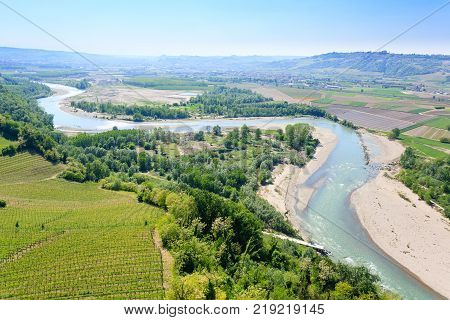 Tanaro River View From Langhe, Italy