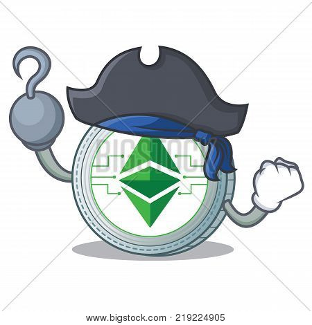 Pirate Ethereum classic character cartoon vector illustration