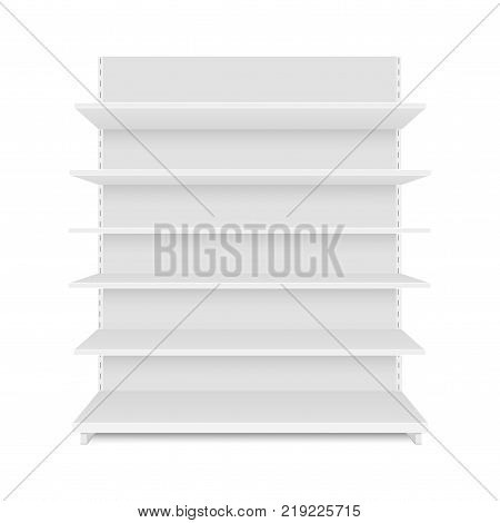 Blank empty showcase display with retail shelves. Front view. Vector mock up template ready for your design.