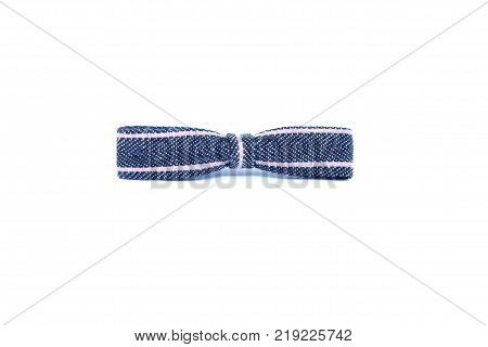 A jean bow on white background. Bow for decoration with woman's hair or decoration gift box.