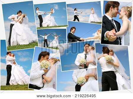 Groom and bride in their wedding day, collage with twenty two people (two model)
