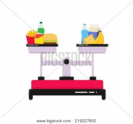The choice between healthy food and fast food. Scales, on the bowls is useful and harmful food. Flat colorful vector illustration. Choice concept. Concept of healthy.