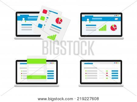 Set of user interface. Flat vector infographic with graphs and charts elements on laptop screens. Finance statistics report, business statistics, modern technology. Analytics process concept.
