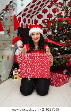 Cheerful Woman With Christmas Gift In Front Of Tree In Her Home