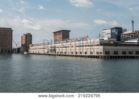BOSTON, USA Seaport World Trade Center in Boston The building is located on the Boston waterfront at Commonwealth Pier, in the South Boston neighborhood