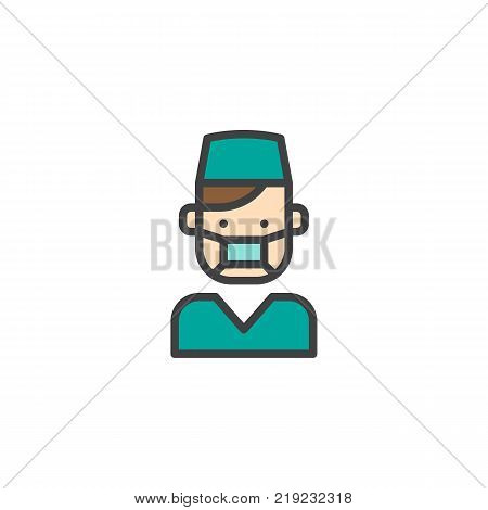 Professional dentist doctor in medical uniform filled outline icon, line vector sign, linear colorful pictogram isolated on white. Orthodontist symbol, logo illustration. Pixel perfect vector graphics