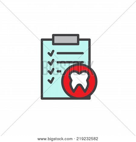Clipboard with human tooth filled outline icon, line vector sign, linear colorful pictogram isolated on white. Docs dental checklist paper symbol, logo illustration. Pixel perfect vector graphics