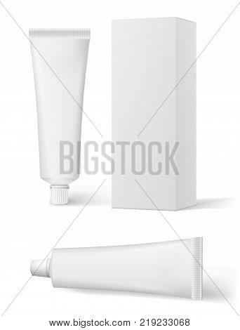 Realistic white cosmetic cream and packaging. Tube For ointments, cream, tooth paste, glue. Vector tube tooth paste ointment mock up. EPS 10