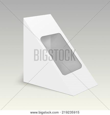Blank cardboard triangle box packaging for food, gift or other products. Vector mock up template ready for your design.
