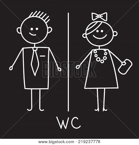 Toilet Icon. Simple Sign Of WC. Men and women WC sign for restroom. Vector Symbol. Chalk sketch on black plate.