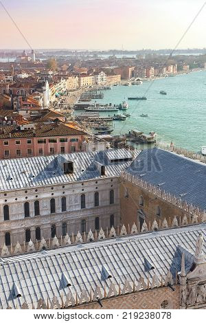 magnificent view of the roofs of Venice from the top of the St Mark's bell tower ( San Marco Campanile ) - the bell tower of St. Mark's Basilica in Venice, Italy, located on St. Mark's Square
