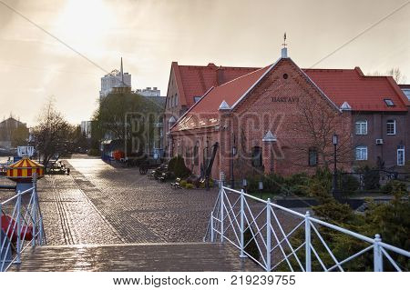 KALININGRAD, RUSSIA - APRIL 25, 2016: Exhibition brick house called
