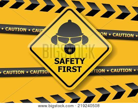illustration of safety first with helmet glass ear muff and mask on yellow wall vector background