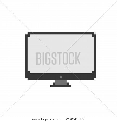 Retro computer display in pixel style. Minimalist display isolated on white background. Game design icon.