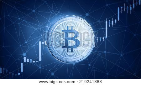 Golden Bitcoin cash coin on hud background with bull trading stock chart. Bitcoin cash blockchain token grows in price on stock market concept. Cryptocurrency coin on polygon peer to peer network