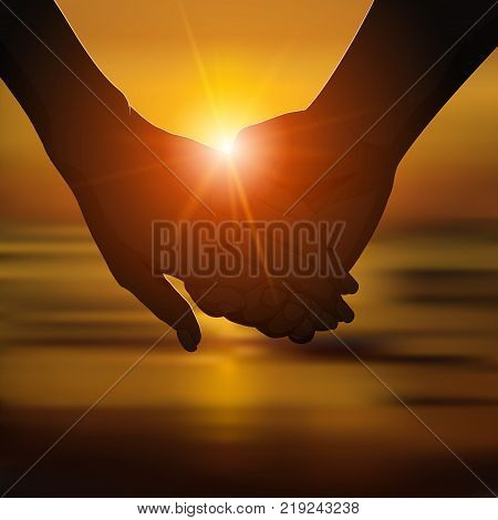 Silhouette of romantic couple's hands on the beach at sunset. Love, romantic relationship concept. Vector illustration.