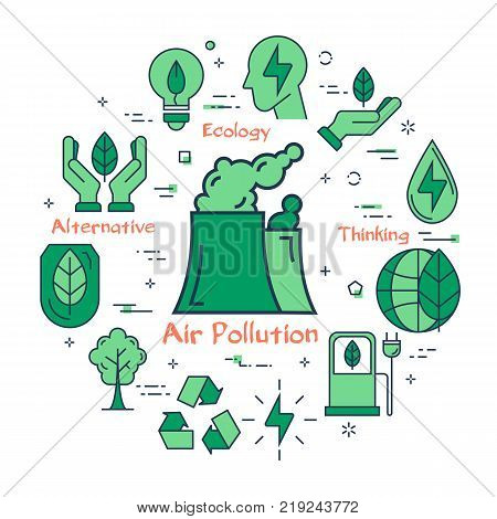 Vector linear green round concept of Air Pollution. Line icons of factory or factory pipes, smoke, production, eco concept