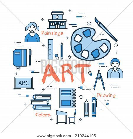 Vector linear blue round concept of Art School Subject. Line icons of painting, drawings, instruments and pupils